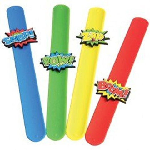 Lot Of 6 Assorted Super Hero Comic Book Style Slap Bracelets
