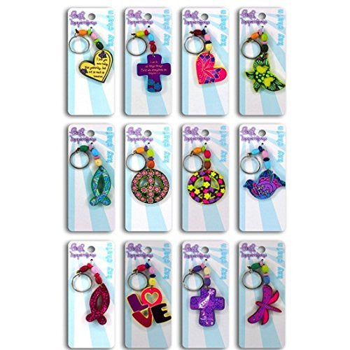 12 Multi Color Wood Beaded Girls Faith Key Chains