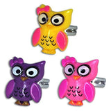 Metal Acrylic Bright Owl Rings Party Favors (12 Pack)