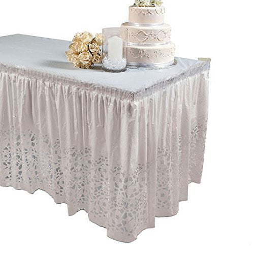 Wedding Lace-Printed Table Skirt Plastic Decorations Reception
