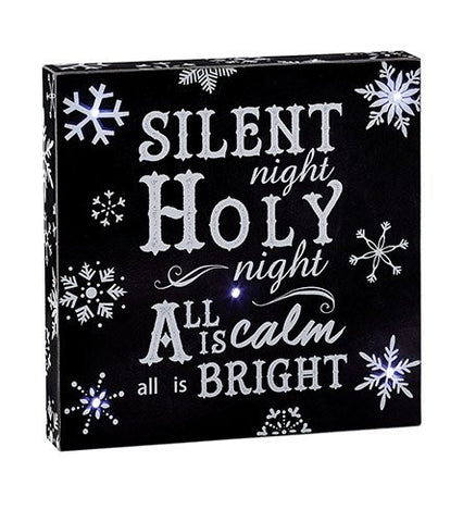 Silent Night Holy Night Light Up Box Plaque