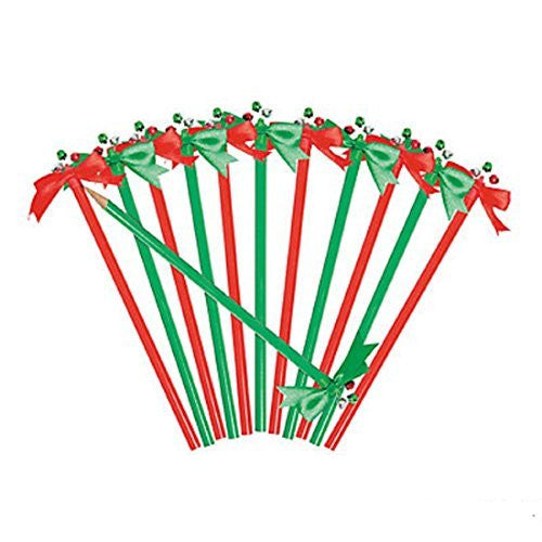 Jingle Bell Pencils with Bow Toppers - 12 Pack