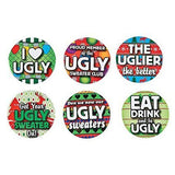 Ugly Sweater Buttons - Christmas Party Favor - Contest Awards - 24 pc