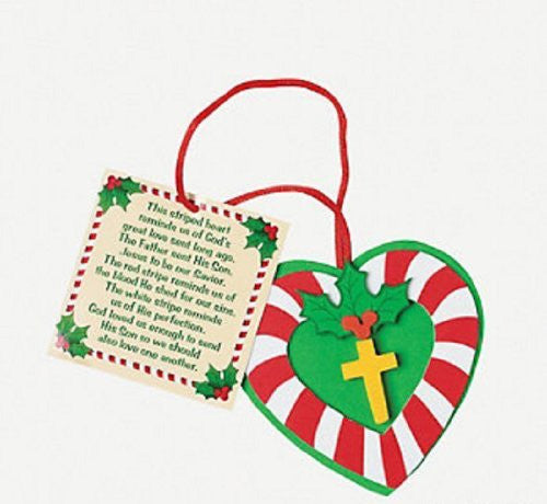 Candy Cane Cross Christmas Ornament Craft Kit (Makes 12)