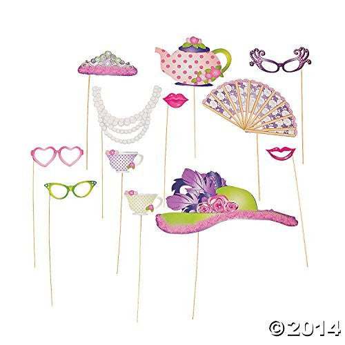 Tea Party 12 Piece Photo Party Favor Wooden Stick Props