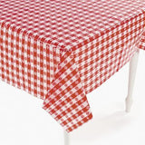 Plastic Red and White Checkered Table Cover