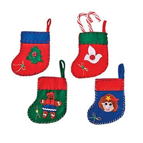 Deluxe Mini Felt Christmas Stockings (12 Pack)