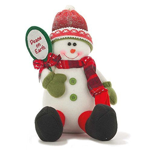 Peace on Earth Fabric Christmas Snowman Sitting 9""
