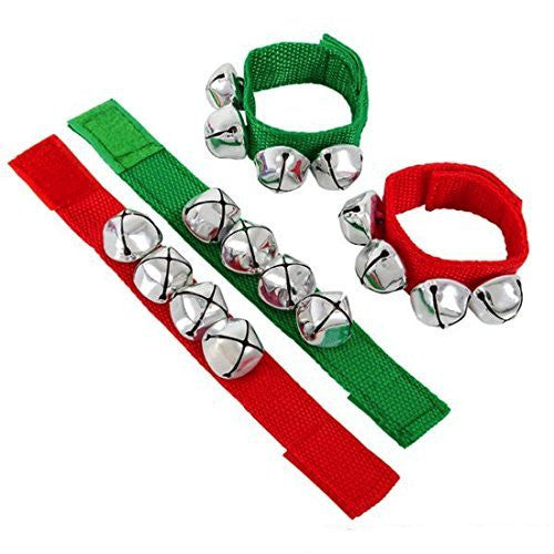 Christmas Red And Green Jingle Bell Slap Bracelets (12 Pack)