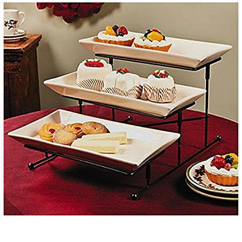 3 Tier Gourmet Serving Tray Set Elegant Serveware Tableware With Platters