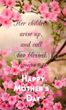 "3.5"" Beautiful Pink Flowers Happy Mother's Day Proverbs 31:28 Prayer Pocket Card 1000 Pack"
