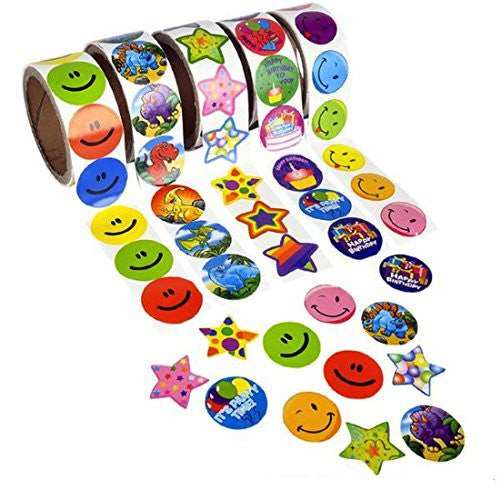Lot Of 1000 Assorted Stickers 10 Rolls - 100 Per Roll