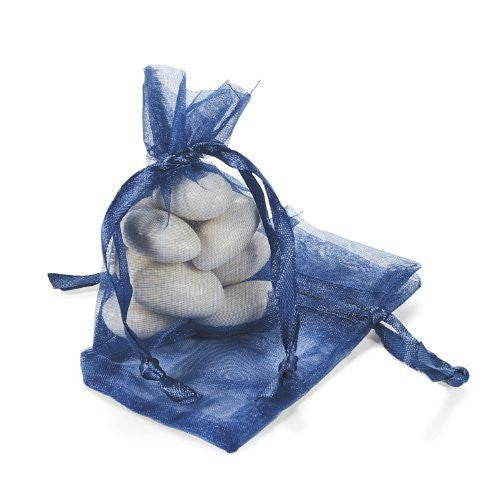 Mini Navy Organza Drawstring Bags (50 pc)