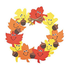 "1 ~ Smile Face Autumn Leaves Wreath Craft Kit ~ Makes 1 Wreath ~ Foam / Approx. 11"" ~ New in Sealed Package."