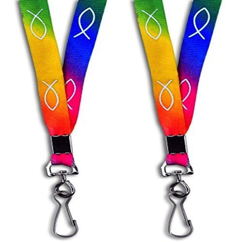"Dozen 32"" Rainbow Colored Jesus Fish Symbol Lanyards Badge holders"