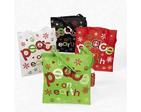 12 Large Christmas Peace on Earth Polyester Totes