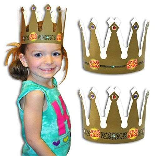 Dozen Jesus Is King Gold VBS King's Crown Party Hats