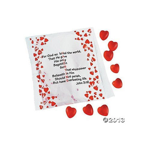 Valentine Verse Gummy candy with Bible John 3:16 Hearts -18 packets
