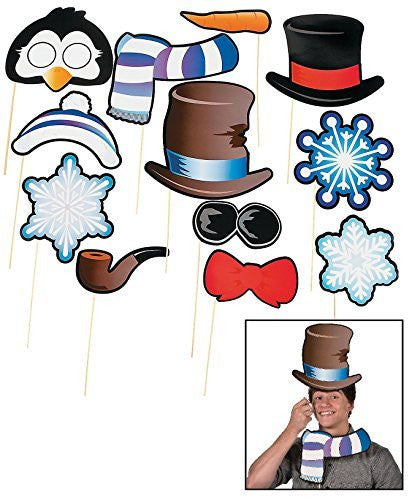 Snowman & Penguin Photo Stick Props (12 Pack)