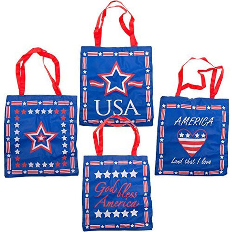 Large Patriotic Tote Bags (12 Pack)