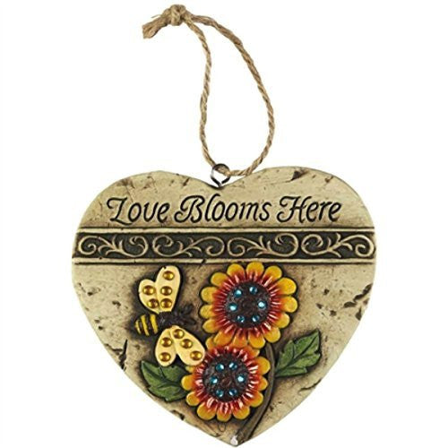Set of 3 Love Blooms Here Inspirational Resin Garden Plaques with Jewel Embellishments