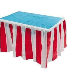 4 pack Red & White Striped Table Skirt Carnival Circus decorations