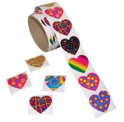 100 Funky Heart Roll of Stickers