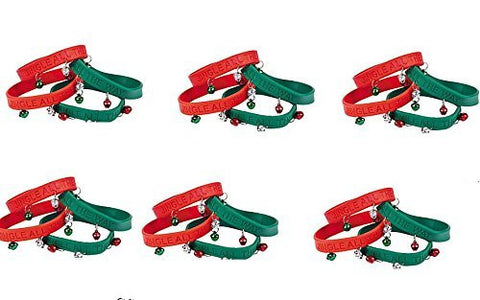 24 Christmas Jingle Bells Rubber Bracelets