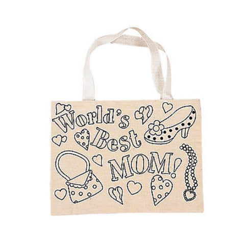 Cotton Canvas Color Your Own Tote Bags for Mom (12 Count)
