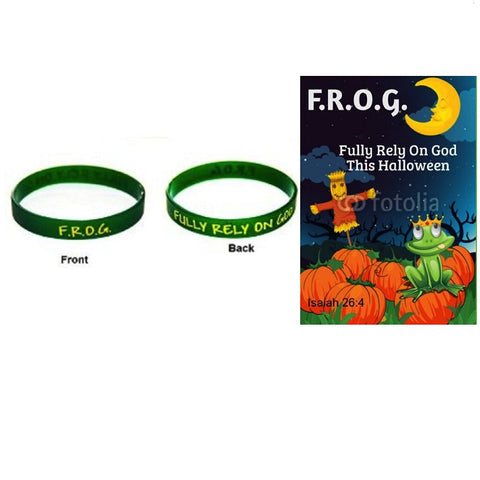 F.r.o.g. Fully Rely on God Bracelets With Halloween Bible Tracts (10 Pack)