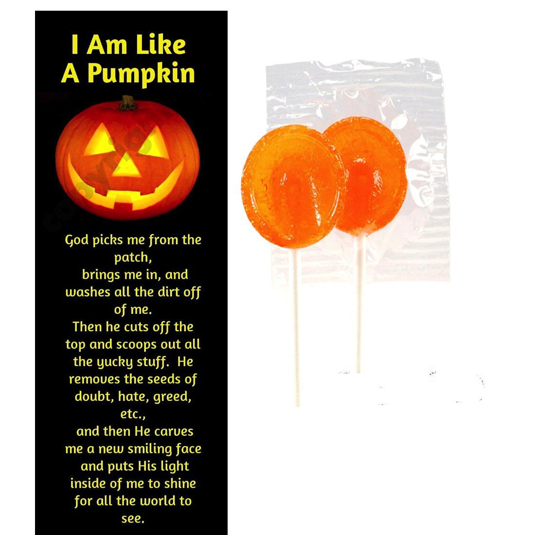 Inspirational Halloween Pumpkin Prayer Bookmarks With Orange Citrus Lollipops (Pack of 12)