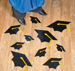 13 Large Graduation Hats/Caps Floor Clings - Party Supplies
