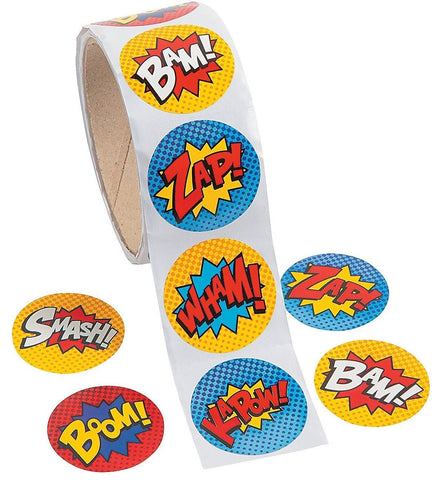 Superhero Sticker Roll - 100 Stickers