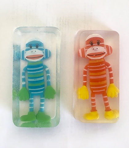 Toy Embedded Kid Sock Monkey Soap Set of 2