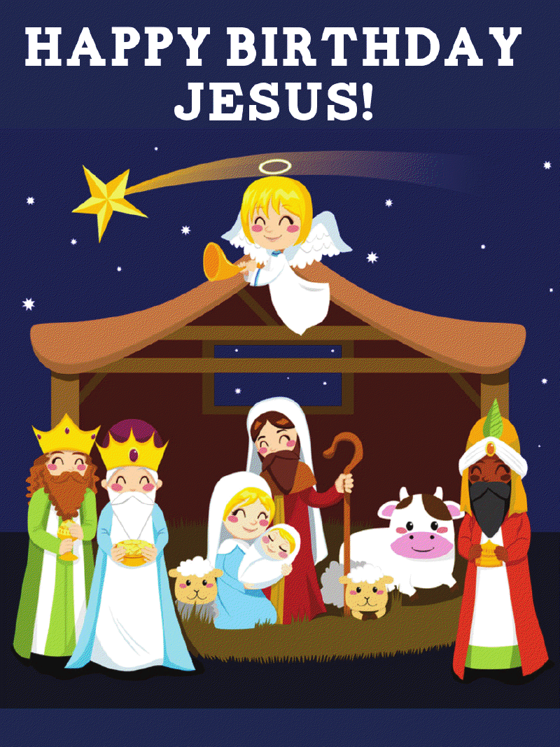 Jumbo Happy Birthday Jesus Nativity Magnets (10 Count)