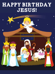 100 Jumbo Happy Birthday Jesus Nativity Magnets