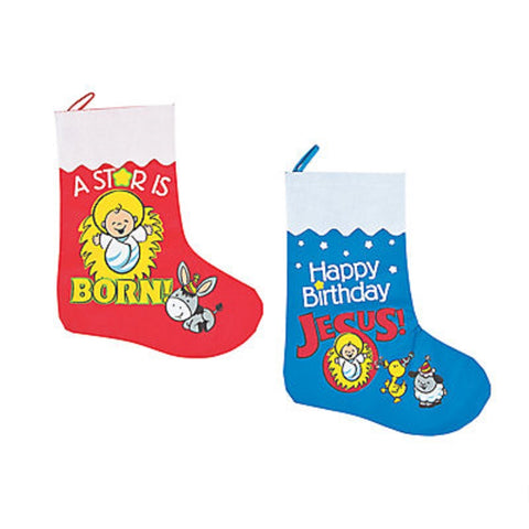 Happy Birthday Jesus Stockings - 12 Pack