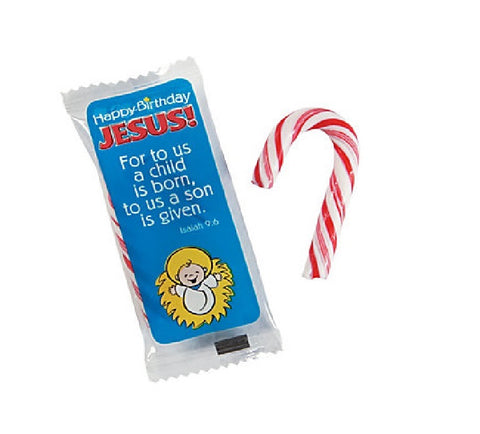 Happy Birthday Jesus Mini Candy Canes 40 Pack