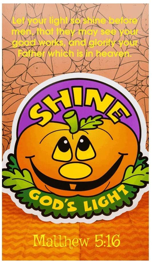 Let Your Light Shine Bulk Pumpkin Halloween Pocket Cards Bookmarks (100 Count)