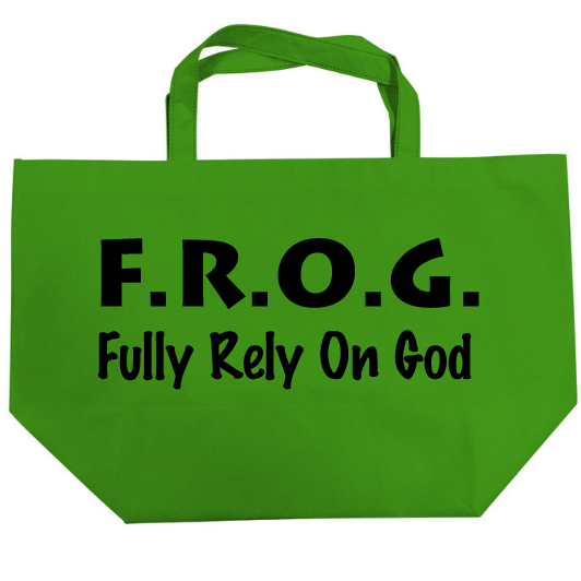 Fully Rely On God Tote Bags Bulk, F.R.O.G. Items, Party Bags, Halloween Tote Bags, 6 Pack