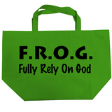 Large Green Fully Rely On God Frog F.R.O.G.Tote Bag 20""