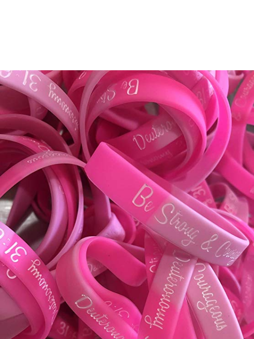 Be Strong Pink Christian Breast Cancer Awareness Bracelets Bulk (100 Count)