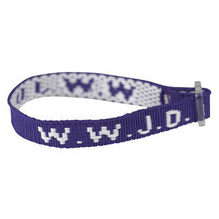 6 Navy Blue WWJD Cloth Woven Bracelet