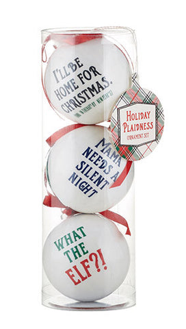 Funny Sayings Holiday Plaidness Decoupage Ornaments Set of 3
