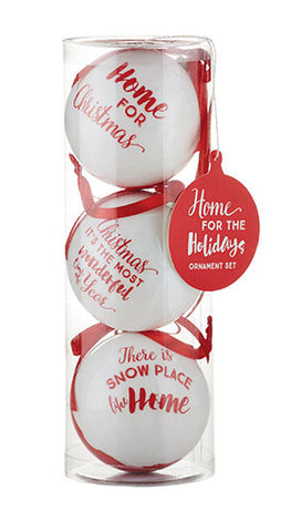 Home for the Holidays Decoupage Ornaments Set of 3