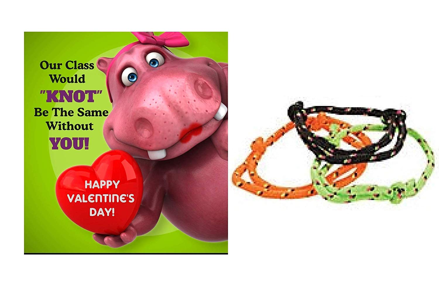 24 Valentine Exchange Cards With Knot Bracelets