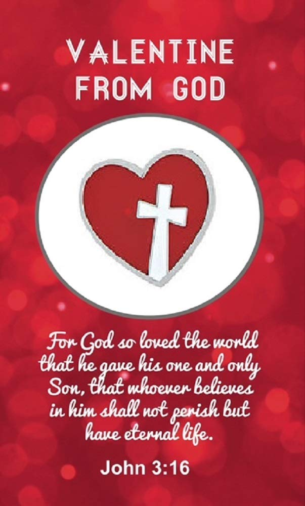 Valentine from God Heart with Cross Lapel Pin On Card, John 3:16, 12 Count, Bulk