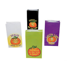 12 Let His Light Shine Christian Pumpkin Treat Bags