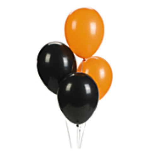 Orange And Black Metallic Latex Balloons (12 Pack)