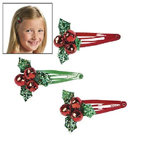 24 Metal Christmas Jingle Bell Holly Hair Clips